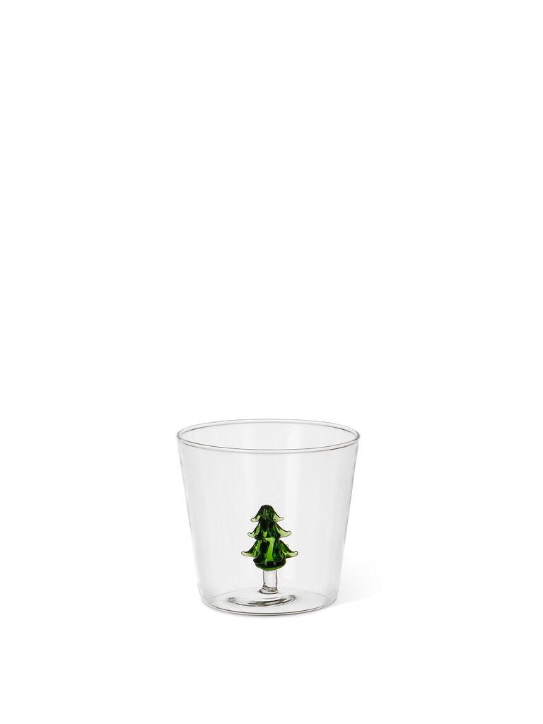 Bicchiere vetro dettaglio alberello